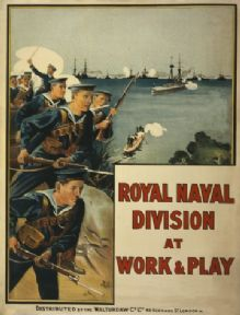 Vintage WW1 Poster. Royal Naval Division at work & play.